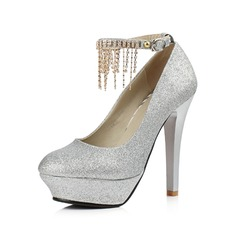 Sparkling Glitter Stiletto Heel Pumps Platform Closed Toe With Rhinestone shoes