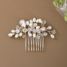 Ladies Elegant Crystal/Imitation Pearls/Copper/Glass Combs & Barrettes With Venetian Pearl/Crystal (Sold in single piece)