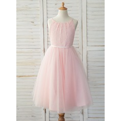 A-Line Tea-length Flower Girl Dress - Tulle/Lace Sleeveless Straps