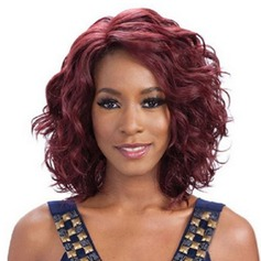 Attractive Medium Capless Fluffy Kinky Curly Wine Red Synthetic Side Bang Women's Wig