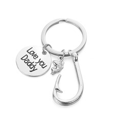 Fish Hook/Love You Daddy Stainless Steel Keychains