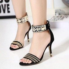 Women's Suede Stiletto Heel Sandals Peep Toe With Rhinestone Beading Braided Strap shoes