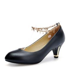Frauen Kunstleder Stöckel Absatz Absatzschuhe Geschlossene Zehe mit Kette Schuhe