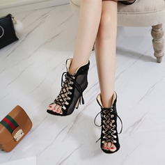 Women's Suede Mesh Stiletto Heel Sandals Pumps With Rivet Lace-up shoes