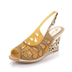 Women's Leatherette Wedge Heel Sandals Slingbacks With Rhinestone