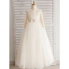 Ball Gown Floor-length Flower Girl Dress - Satin/Tulle/Lace/Cotton Long Sleeves Scoop Neck With Bow(s)