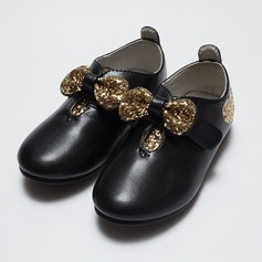 Girl's Closed Toe Leatherette Flat Heel Flats Flower Girl Shoes With Rhinestone