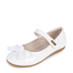 Girl's Closed Toe Patent Leather Flat Heel Flower Girl Shoes With Bowknot Velcro