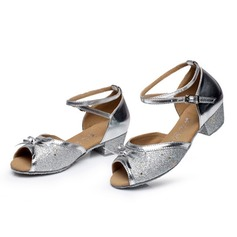 Kids' Sparkling Glitter Sandals Latin With Bowknot Ankle Strap Dance Shoes