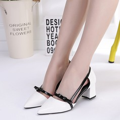 Women's Patent Leather Chunky Heel Sandals Pumps Closed Toe With Bowknot Hollow-out shoes