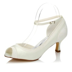 Women's Lace Satin Spool Heel Peep Toe Sandals
