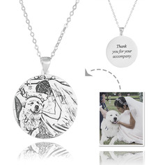 Custom Sterling Silver Engraving/Engraved Circle Tag Black And White Photo Engraved Engraved Necklace Circle Necklace Photo Necklace - Birthday Gifts