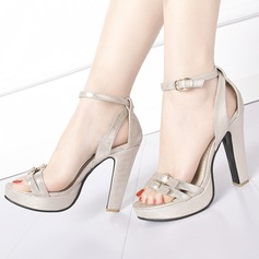 Women's Leatherette Chunky Heel Sandals Platform Peep Toe With Buckle shoes
