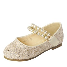 Girl's Round Toe Closed Toe Sparkling Glitter Flat Heel Flats Flower Girl Shoes With Pearl