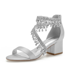Women's Satin Chunky Heel Sandals With Rhinestone Tassel