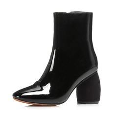 Women's Patent Leather Chunky Heel Pumps Closed Toe Boots Ankle Boots With Zipper shoes