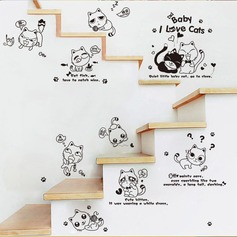 Removable Lovely Cat Toilet Wall Sticker (Sold in a single piece)