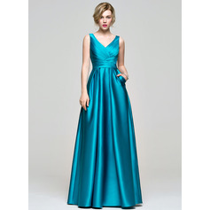 A-Line/Princess V-neck Floor-Length Satin Bridesmaid Dress With Ruffle