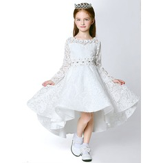 A-Line/Princess Asymmetrical Flower Girl Dress - Lace/Polyester Long Sleeves Scoop Neck With Flower(s)/Rhinestone