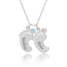 Custom Sterling Silver Baby Footprint Two Engraved Necklace With Birthstone - Birthday Gifts Mother's Day Gifts