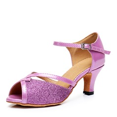 Women's Leatherette Sparkling Glitter Heels Sandals Latin With Sequin Dance Shoes