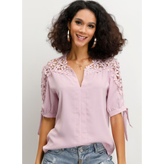 1/2 Sleeves Polyester V Neck Blouses (1003223755)