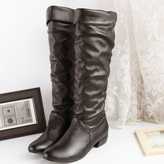 Women's Leatherette Chunky Heel Knee High Boots With Split Joint shoes (088103147)