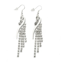 Pretty Alloy/Rhinestones/Silver Plated Ladies' Earrings