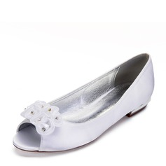 Women's Leatherette Flat Heel Flats With Flower Crystal
