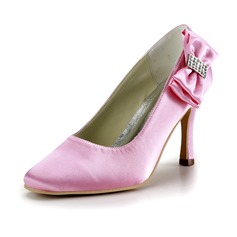 Women's Satin Stiletto Heel Closed Toe Pumps With Bowknot Rhinestone