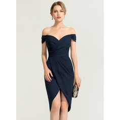 Sheath/Column Off-the-Shoulder Asymmetrical Chiffon Cocktail Dress (270214142)