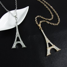 Tour Eiffel Alliage Strass avec Strass Dames Collier de mode