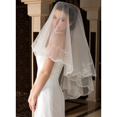 One-tier Lace Applique Edge Waltz Bridal Veils With Embroidery