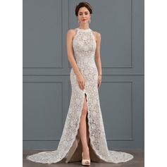 Sheath/Column Scoop Neck Chapel Train Lace Wedding Dress With Split Front