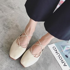 Women's PU Flat Heel Flats Closed Toe With Ribbon Tie shoes