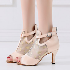 Women's Satin Heels Latin With Buckle Dance Shoes