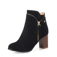 Women's Suede Chunky Heel Pumps Boots Ankle Boots With Zipper Chain shoes