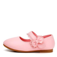 Girl's Closed Toe Mary Jane Leatherette Flat Heel Flats With Bowknot