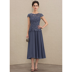 Scoop Neck Tea-Length Chiffon Lace Mother of the Bride Dress (267204620)