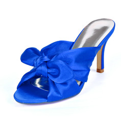 Women's Silk Like Satin Stiletto Heel Peep Toe Sandals Slingbacks With Bowknot