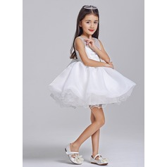 A-Line/Princess Short/Mini Flower Girl Dress - Tulle Sleeveless Scoop Neck With Flower(s)/Sequins/Bow(s)