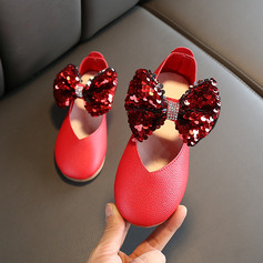 Jentas Round Toe Lukket Tå Leather Wedge Heel Flate sko Flower Girl Shoes med Bowknot Velcro