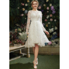 A-Line Illusion Asymmetrical Wedding Dress