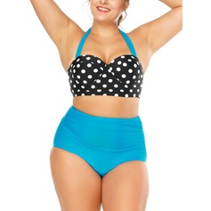 Elegant Dot High Waist Chinlon Spandex Bikinis Swimsuit