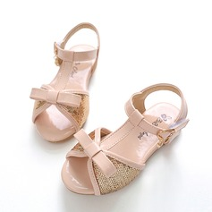 Girl's Peep Toe Leatherette Flat Heel Sandals Flats Flower Girl Shoes With Bowknot Buckle Sparkling Glitter Velcro