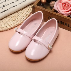 Girl's Closed Toe Leatherette Flat Heel Flats Flower Girl Shoes With Imitation Pearl