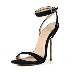 Suede Stiletto Heel Sandals Slingbacks With Buckle shoes