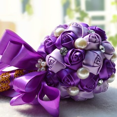 Cute Round Satin/Venetian Pearl/Imitation Pearl Bridesmaid Bouquets -