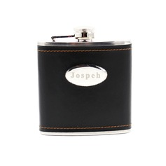Personalized Stainless Steel/Leather 160ml(6-oz)