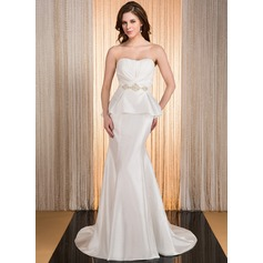 Trumpet/Mermaid Sweetheart Court Train Taffeta Wedding Dress With Beading Cascading Ruffles